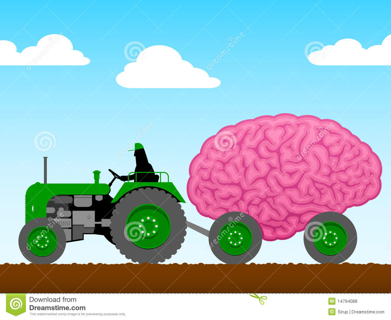 Small Tractor Cartoon : Small tractor pulling a huge brain stock vector