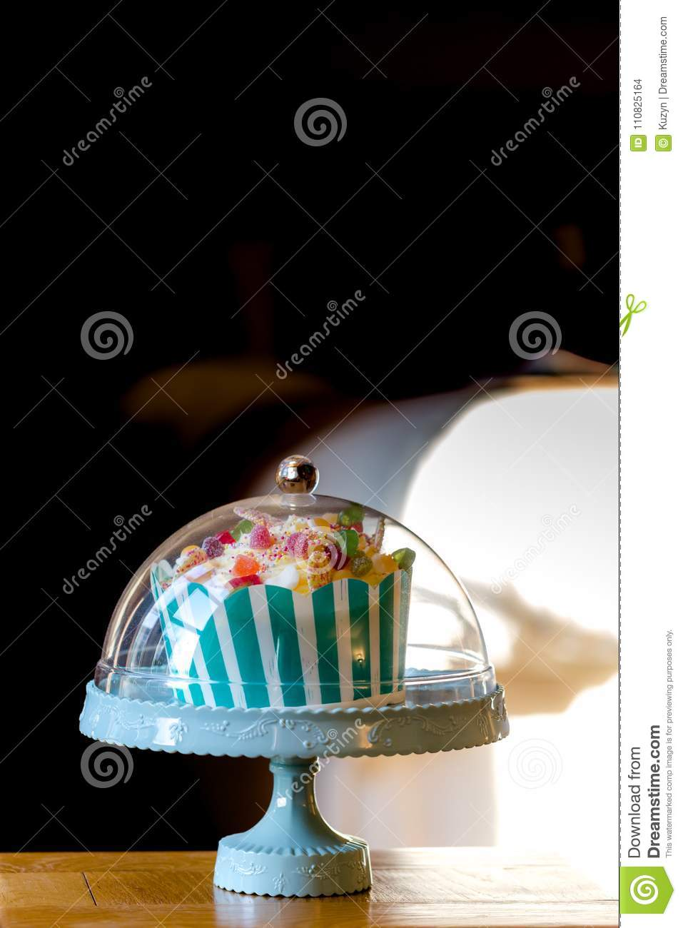 Small Traditional Birthday Cake In Vintage Style Stock Photo Image