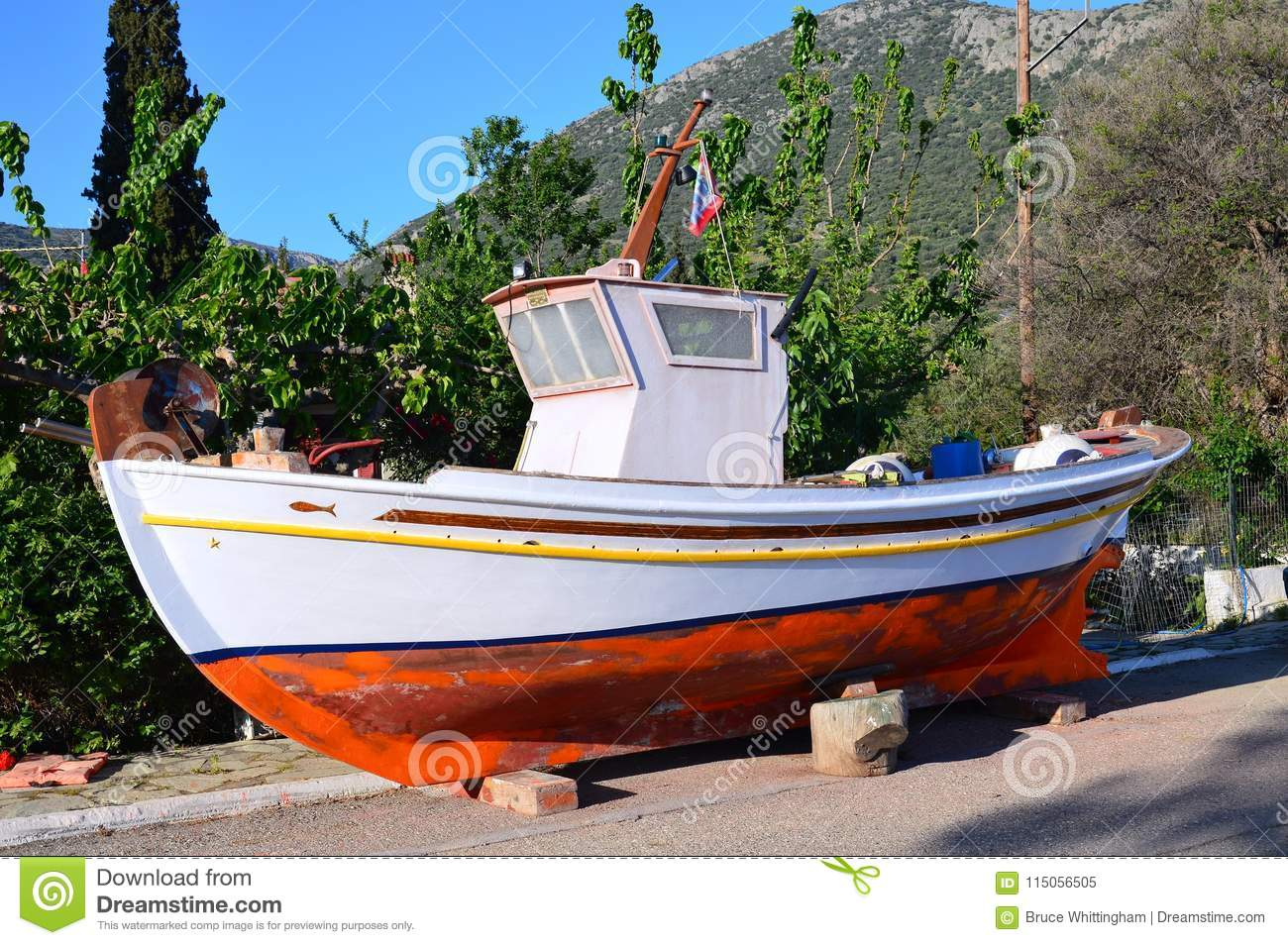 Download Maintenance On Greek Wooden Fishing Boat, Greece Stock Image - Image of cleaning, small: 115056505