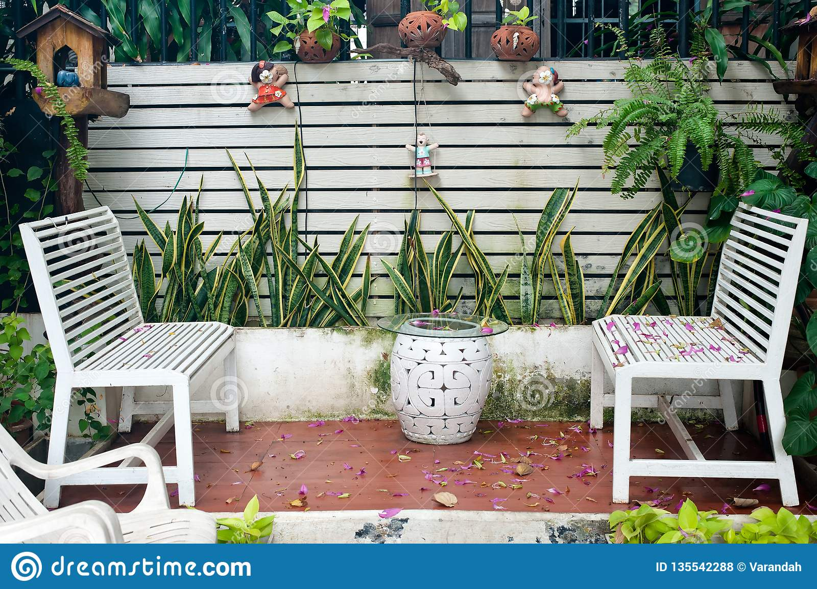 Small Tropical House Balcony With Green Plants In Pots And White Bench Stock Photo Image Of Leisure Decoration 135542288