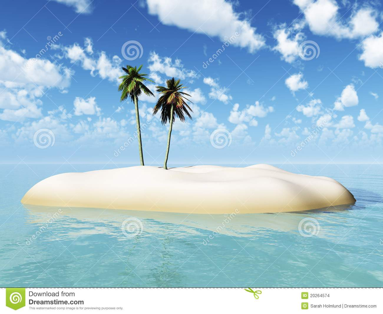 Small Tropical Island With Two Palm Trees Stock Images Image 20264574