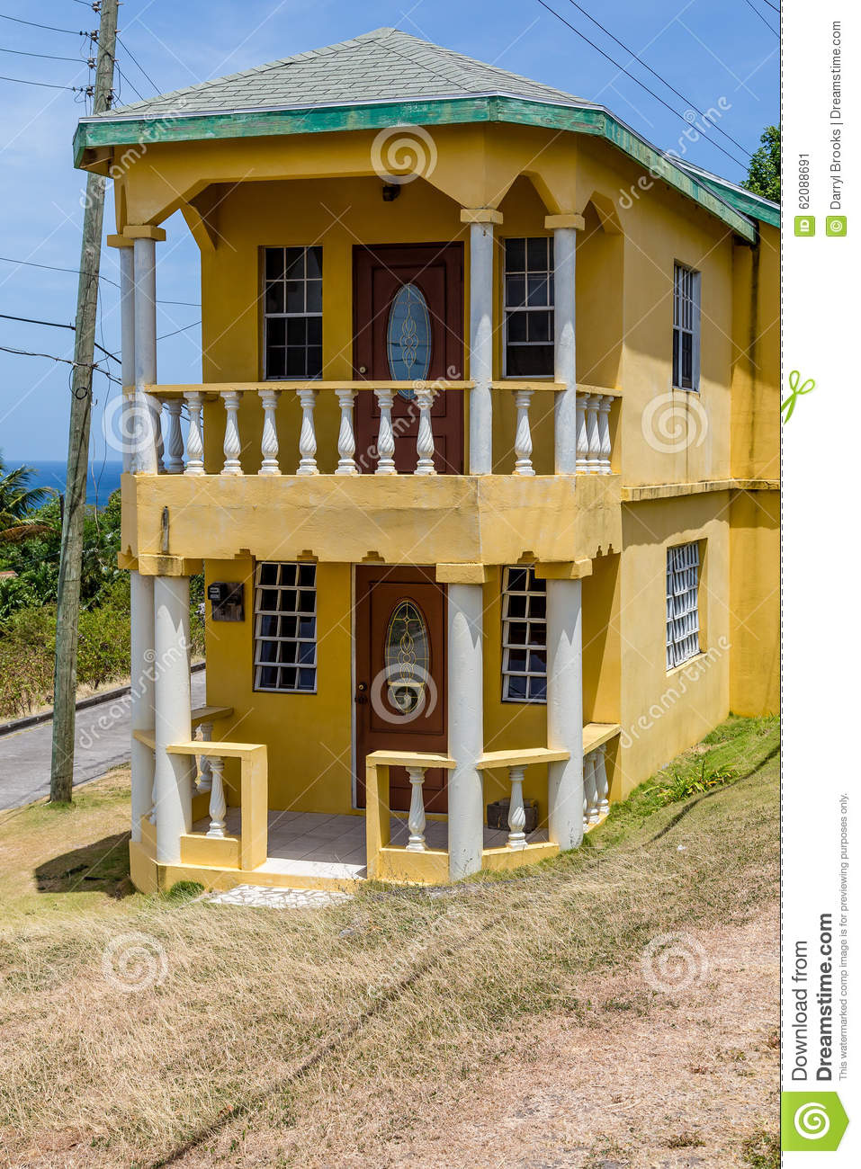Small Two Story House Design: Small Two Story Stucco Home Stock Image