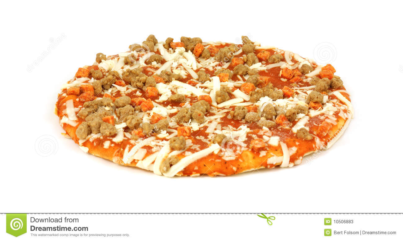 Small uncooked pizza stock image. Image of frozen ...