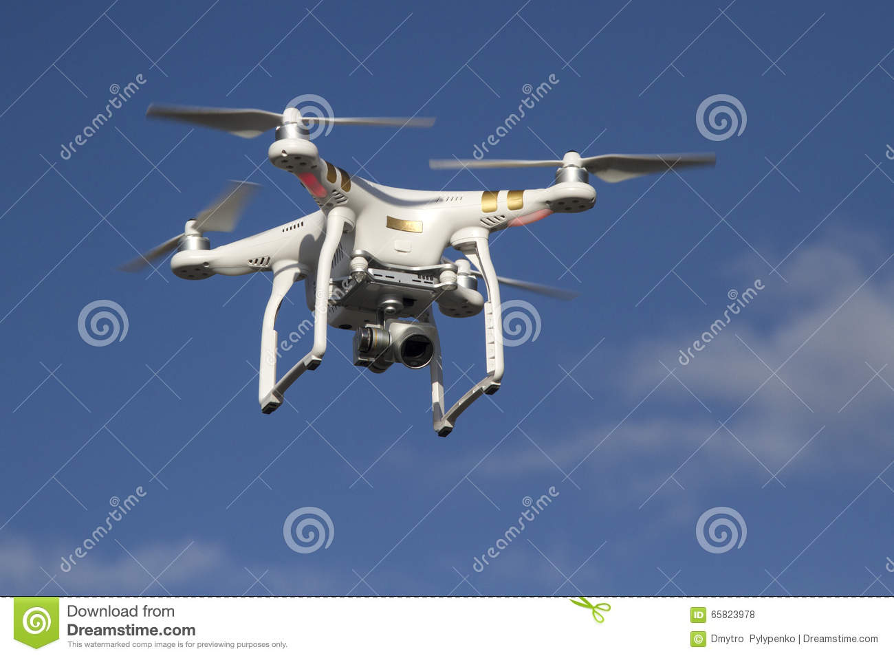 Small unmanned helicopter with a camera flying in the