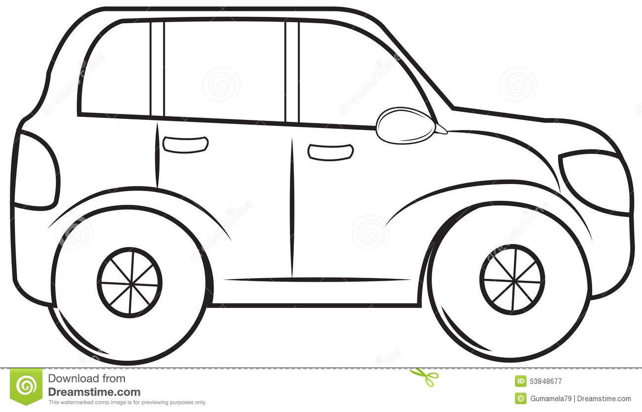 Royalty Free Stock Photography: Small Van Coloring Page