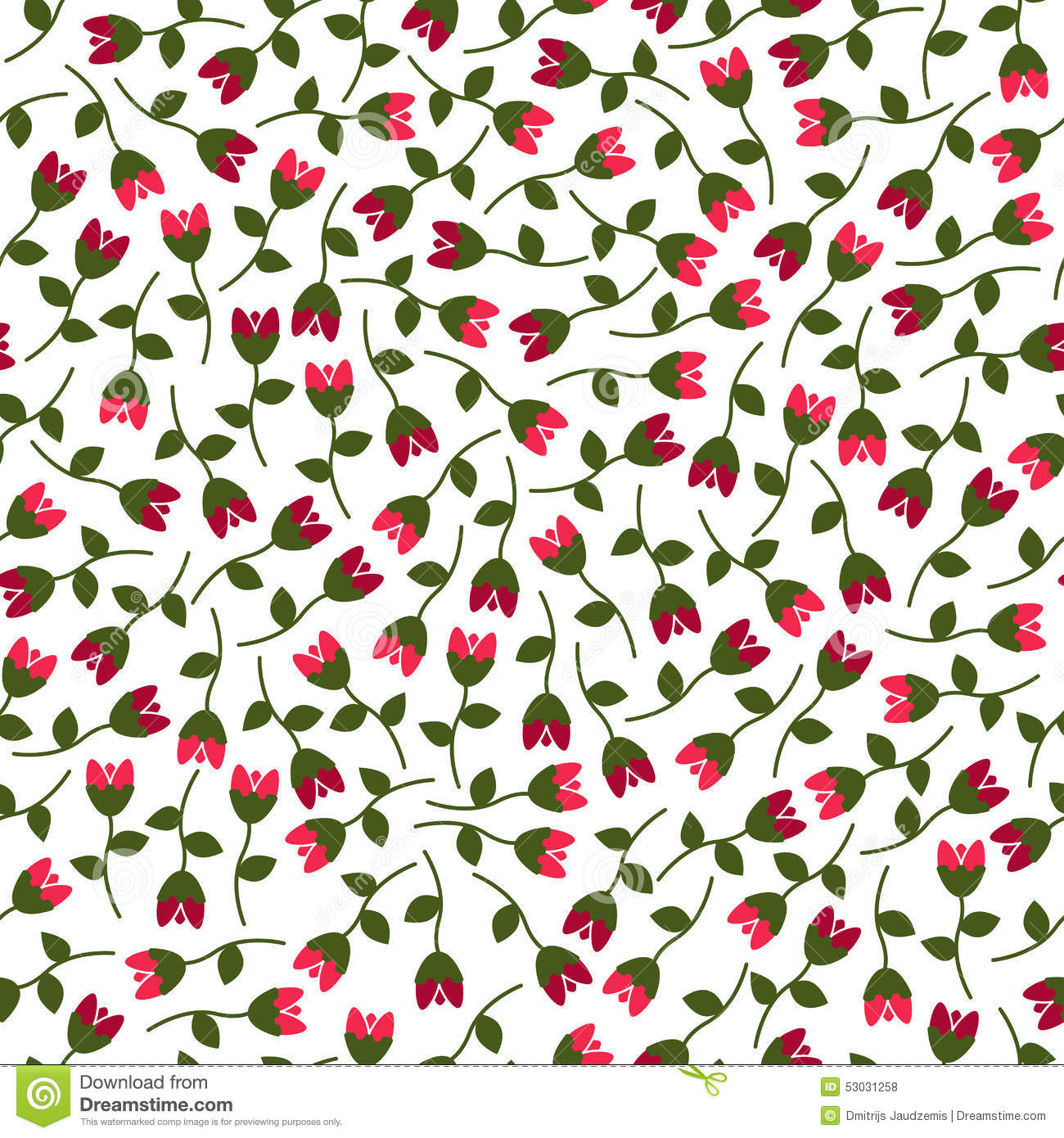 Small Vector Flowers Seamless Pattern. Stock Vector