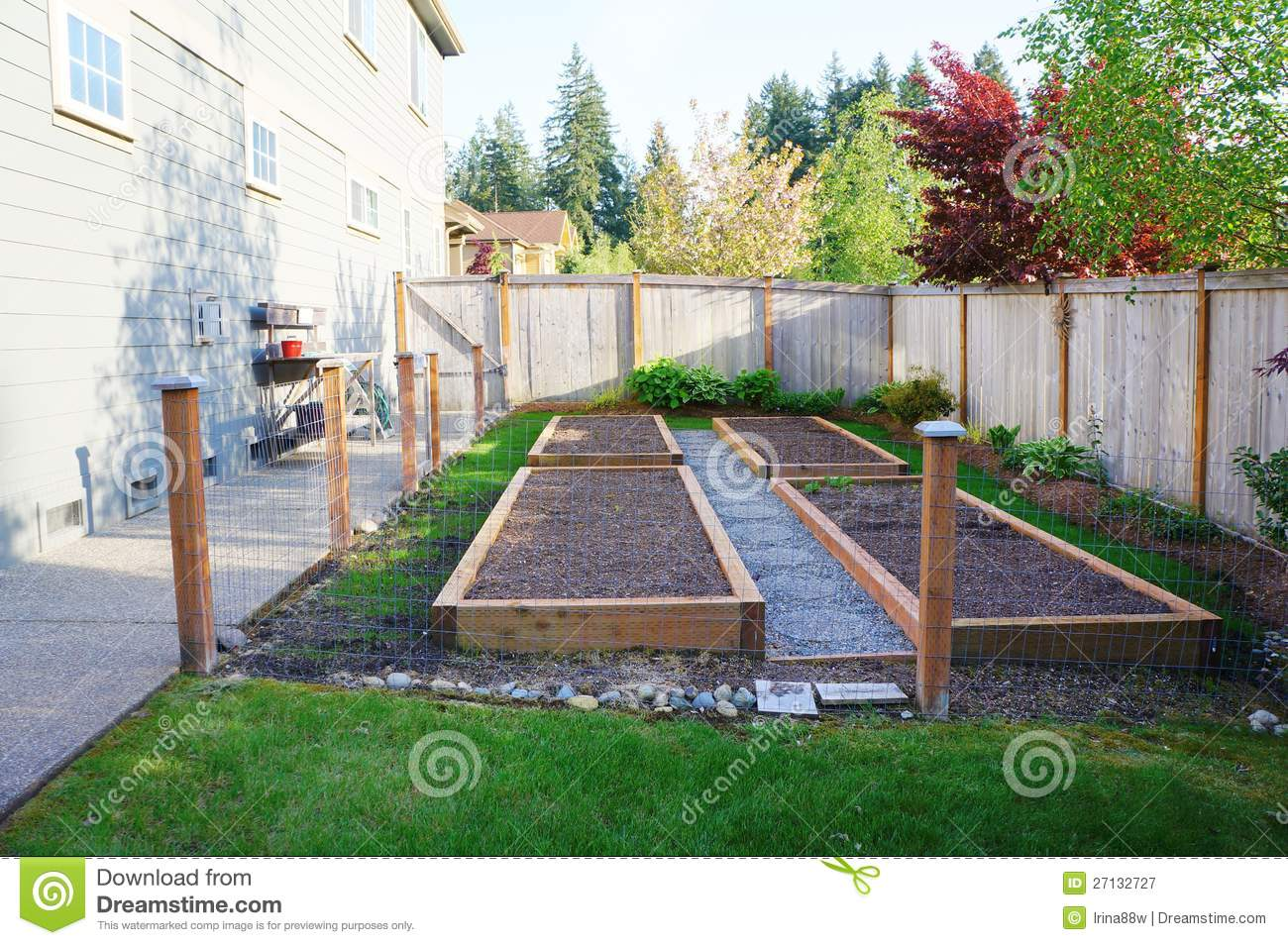 small vegetable garden in the fenced back yard stock. Black Bedroom Furniture Sets. Home Design Ideas