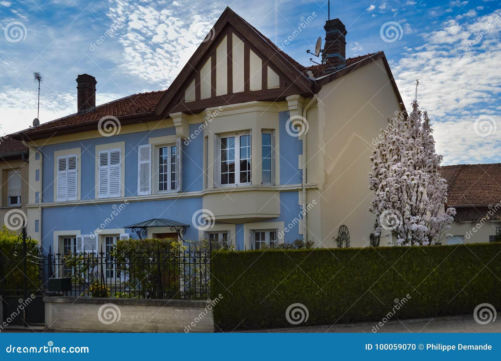 Small Villa With A Blue Facade Stock Photo - Image of modern, decor ...
