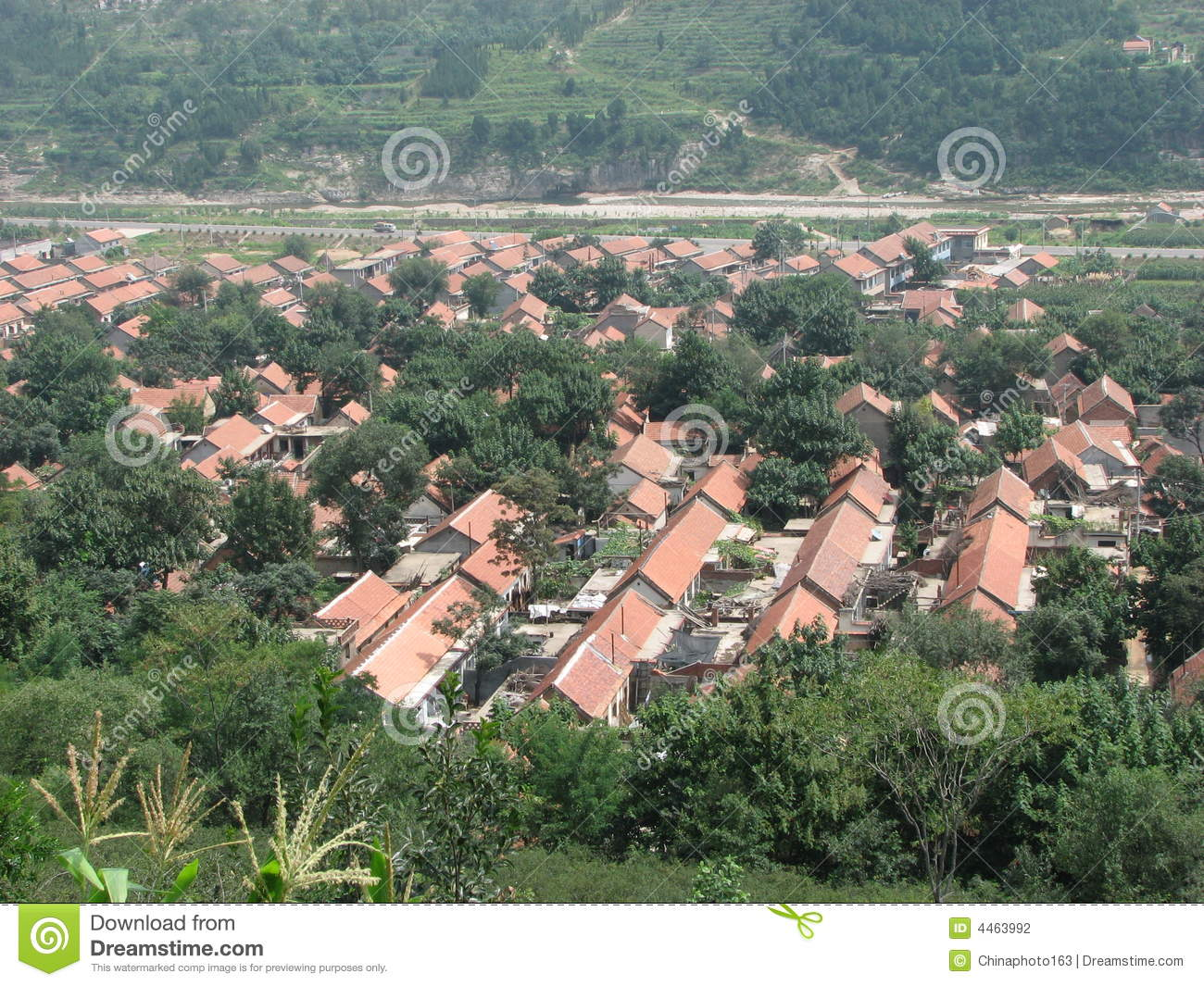 A small village in china rural area stock photography for Chinese in the area