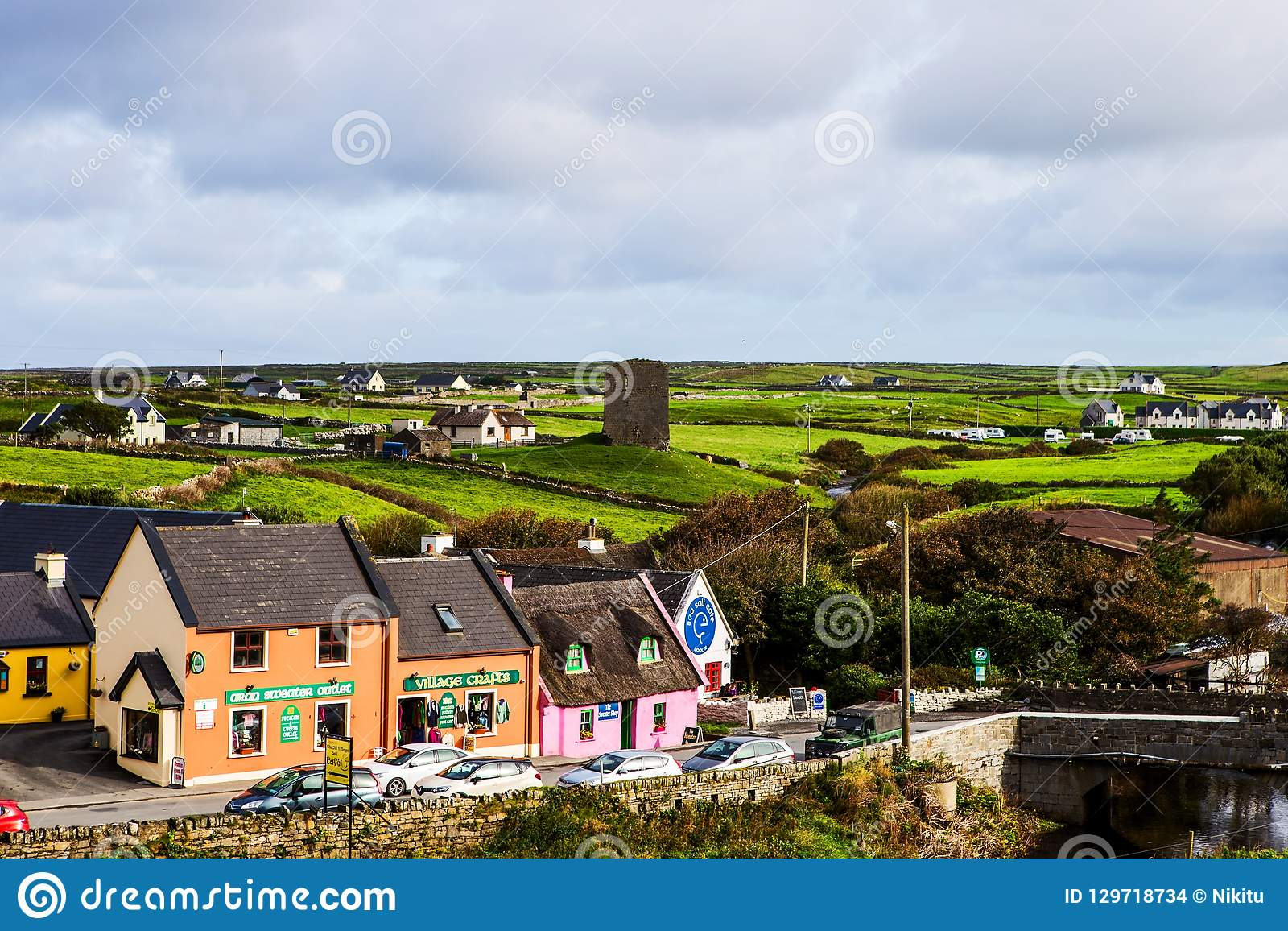 Small village of Doolin with craft shop, Ireland