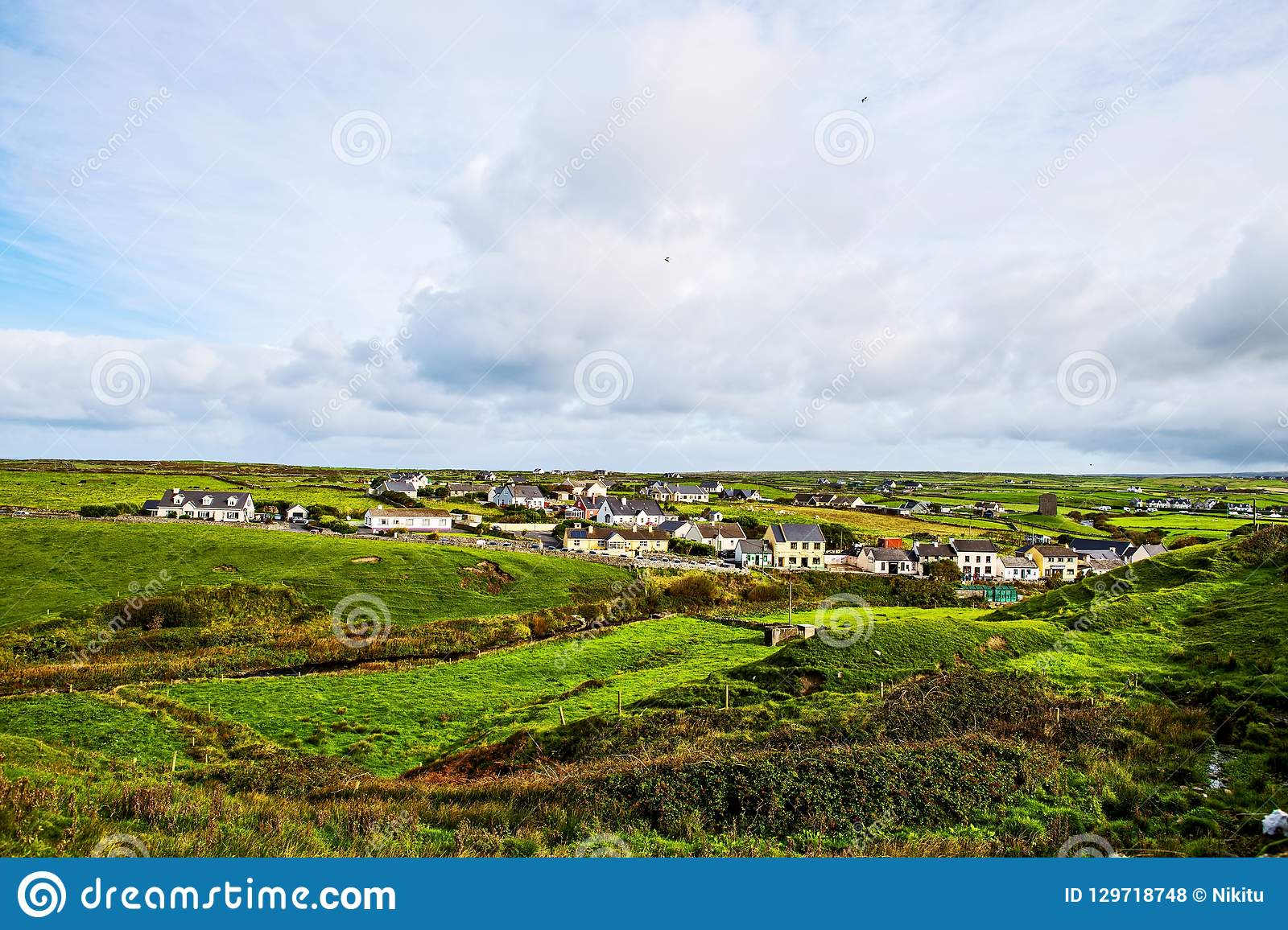 Small village at the Cliffs of Moher, Ireland