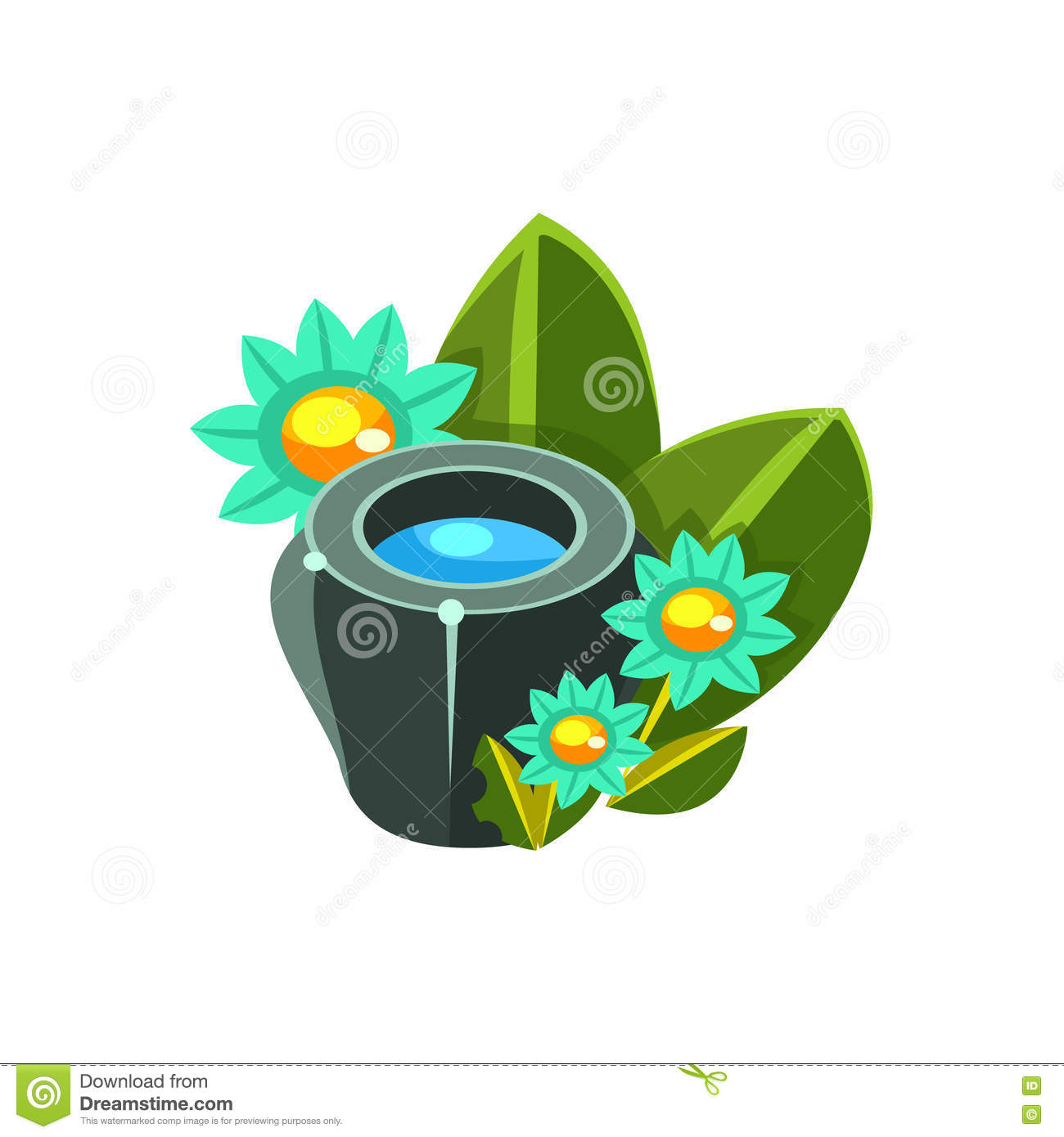 Small Water Bowl And Flowers Isometric Garden Landscaping