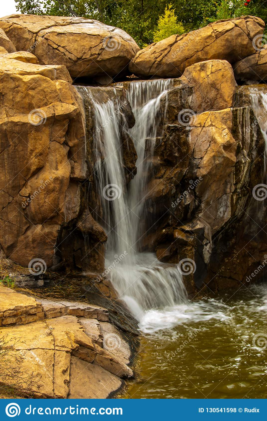 Small Waterfall In Botanical Garden In South Africa Stock Photo