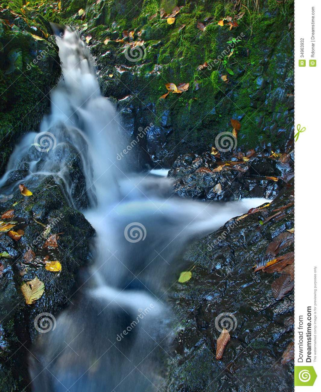 Small Waterfall Full Of Water After Rain. Stock