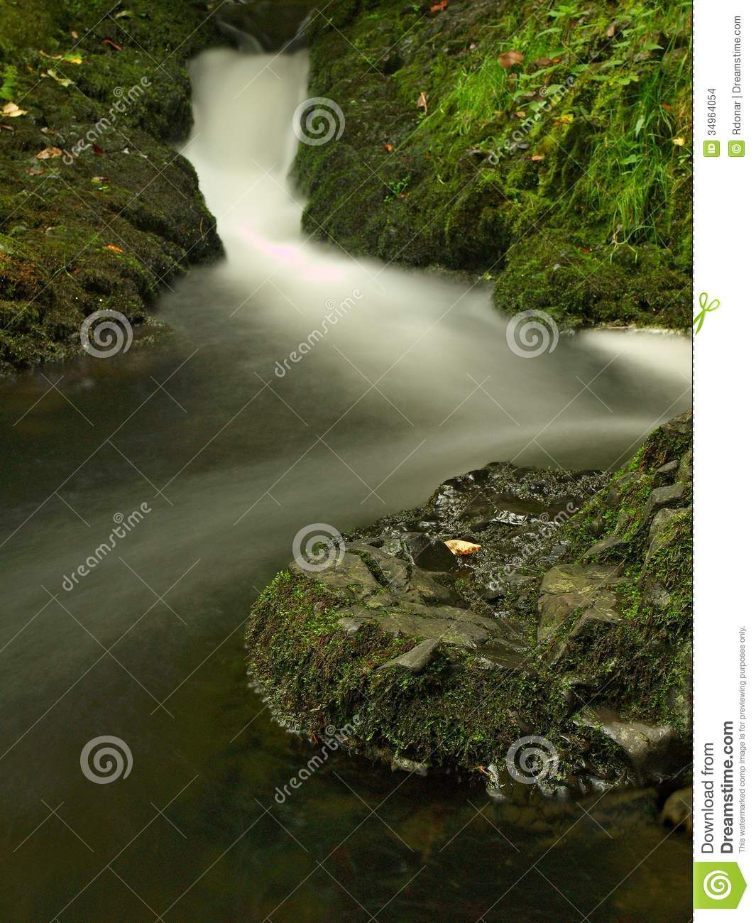 Small Waterfall Full Of Water After Rain. Stock Photo