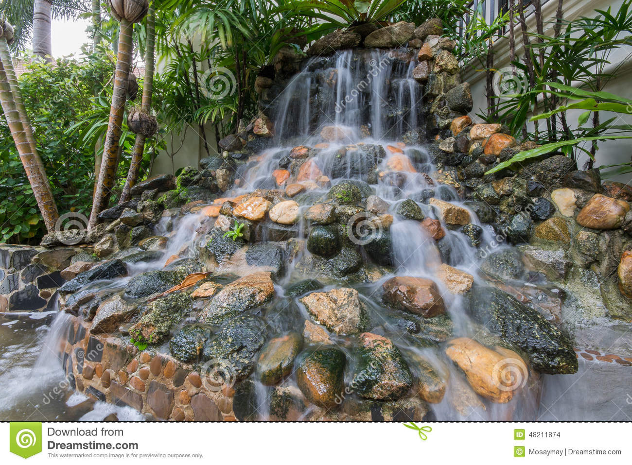 Small Waterfall In The Garden Stock Photo Image 48211874