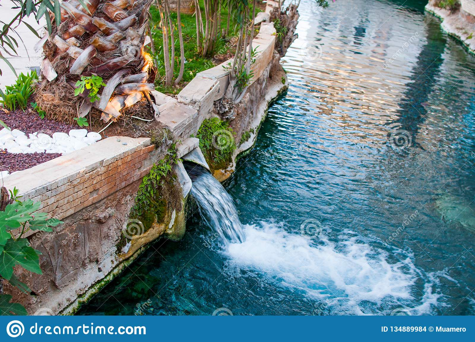 The Small Waterfall Of Thermal Water In The Swimming Pool In ...