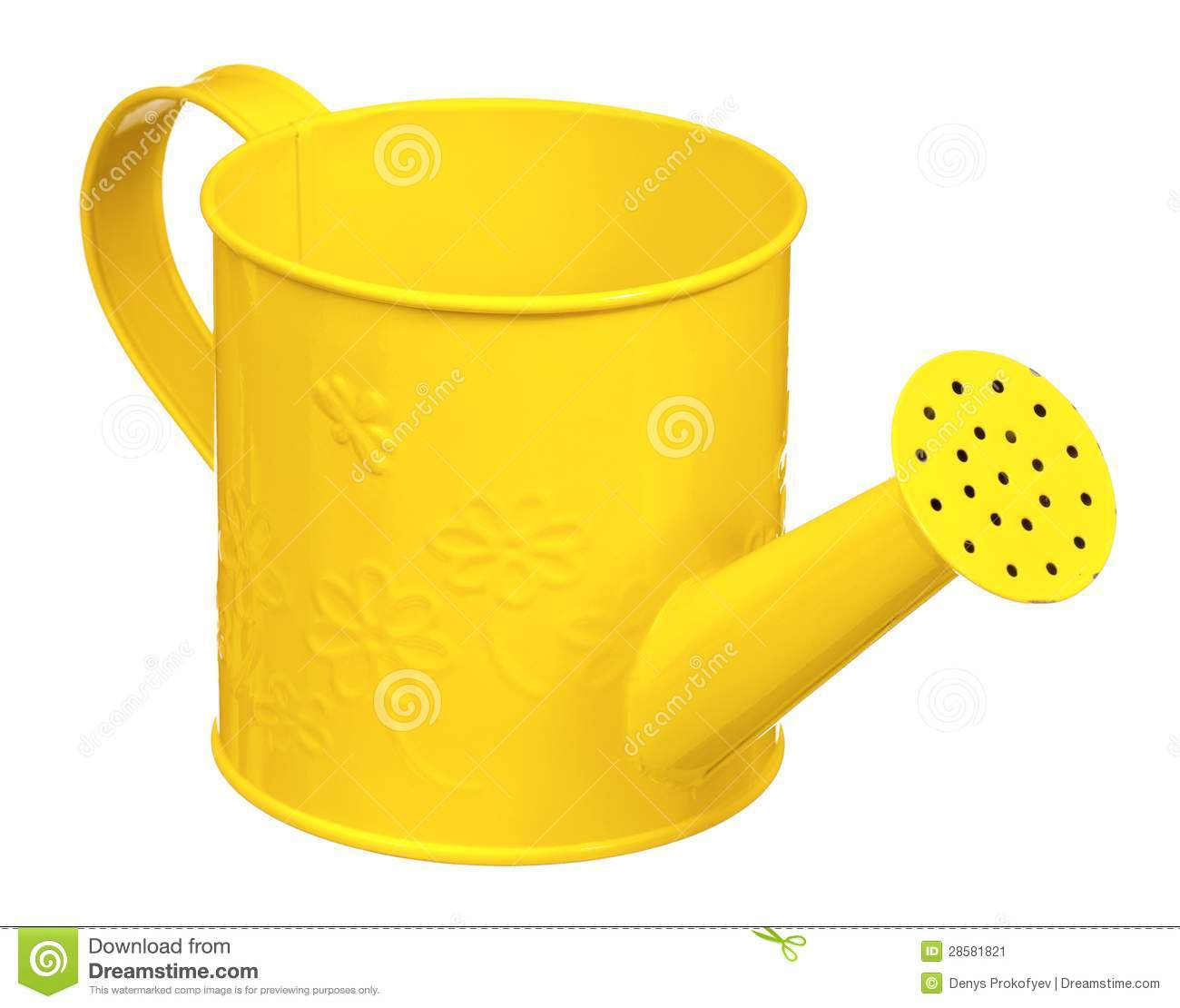 Small yellow watering can isolated on white background.