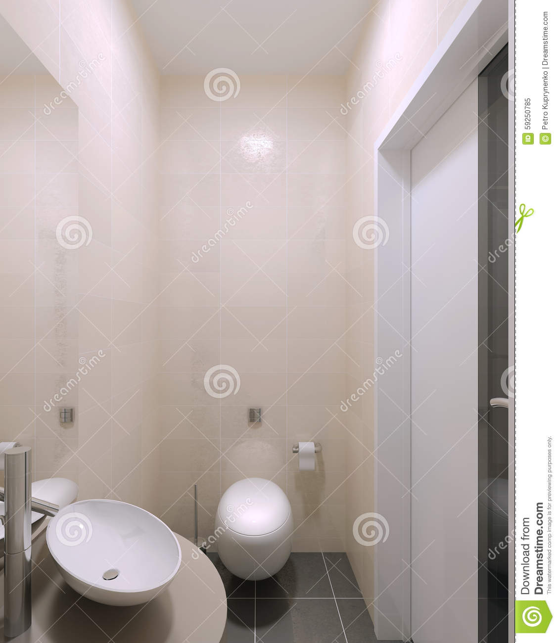 Small Wc Contemporary Interior Stock Illustration Illustration Of