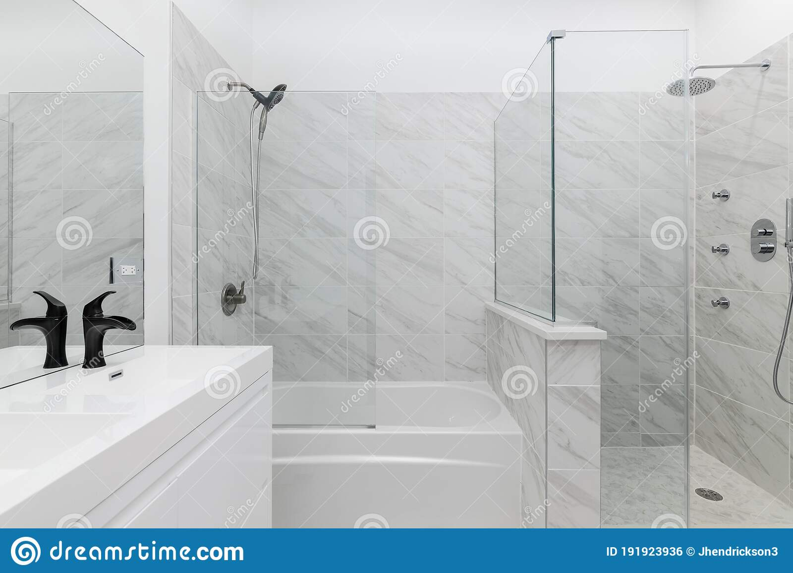 Small White Bathroom With Marble Tiles Editorial Photo Image Of Cleanliness Black 191923936