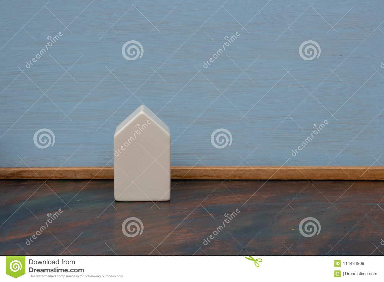 White Ceramic House On A Blue Background Stock Photo Image Of