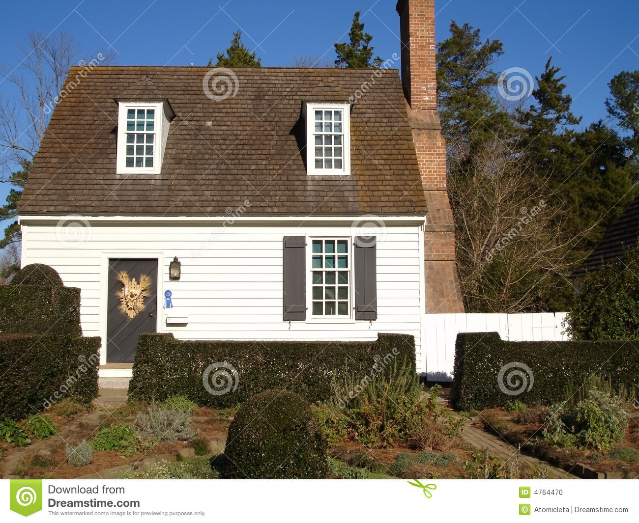 Small White Cottage Stock Photo
