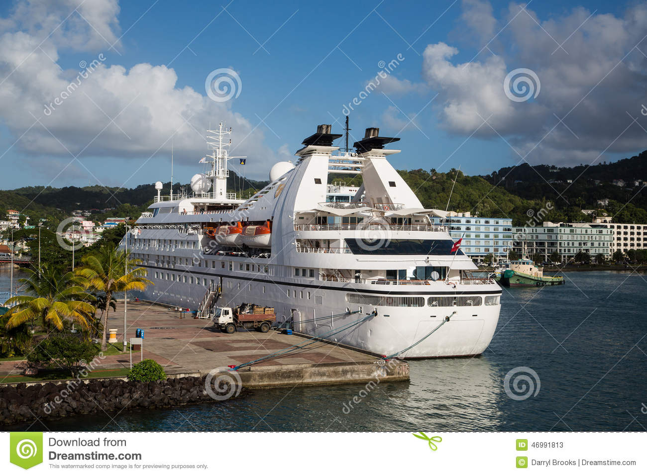 Small White Cruise Ship In St Lucia Bay Editorial Stock Photo - Small cruise ships to caribbean