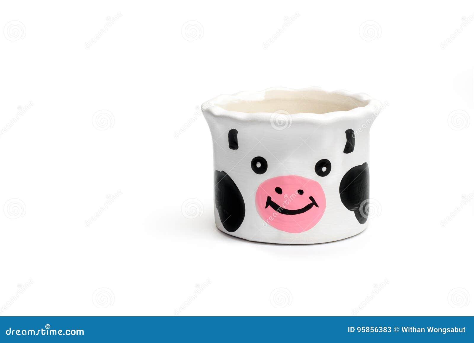 Small White Flower Pot Cow Shape Stock Image Image Of Ceramic