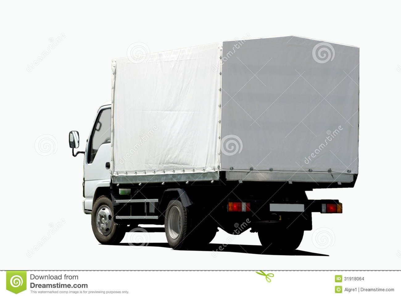 Shipping Container Trailer >> Small white truck stock photo. Image of move, logistics ...