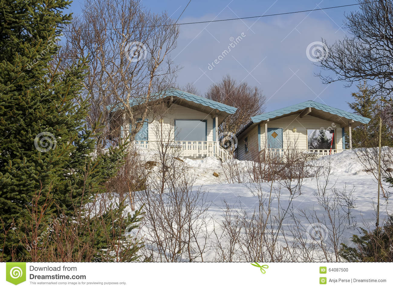 Small White Wooden Cottages Stock Photo Image 64087500