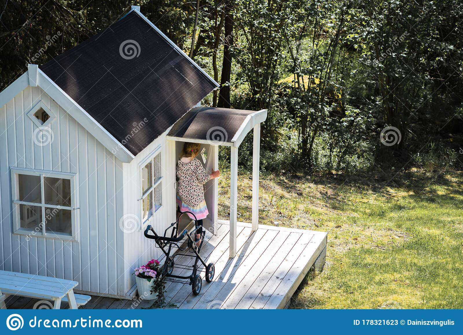 Small White Wooden House With A Terrace Stock Image Image Of Outdoors Design 178321623