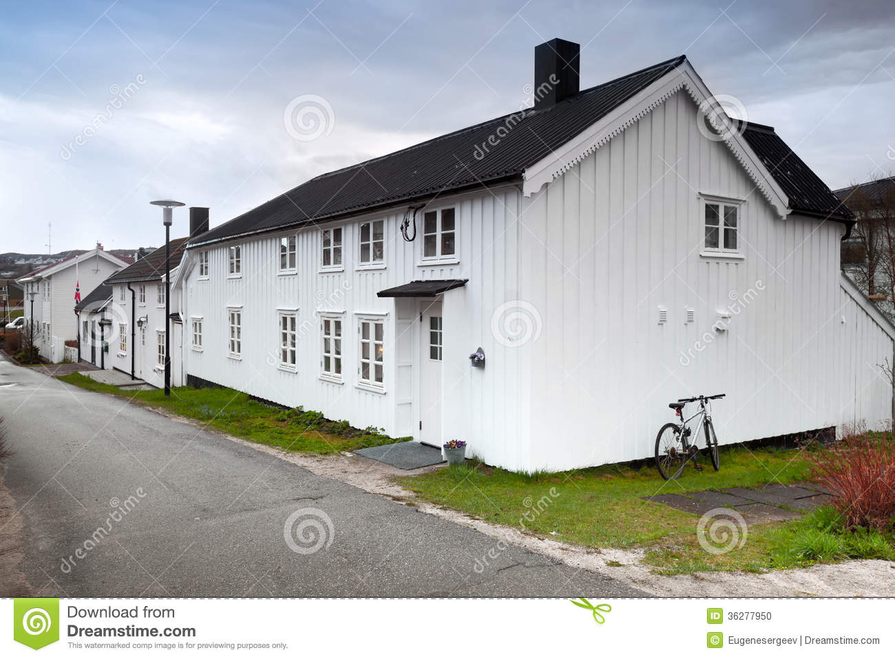 Small white wooden houses in norway stock photo image for Norway wooden houses