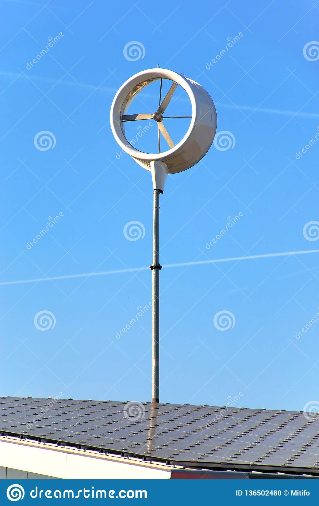 Small wind turbine on roof stock photo  Image of protection