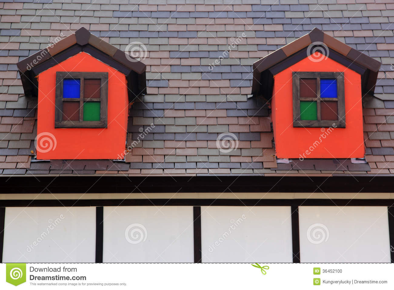 Small windows on the roof stock photo image 36452100 - Houses roof windows ...