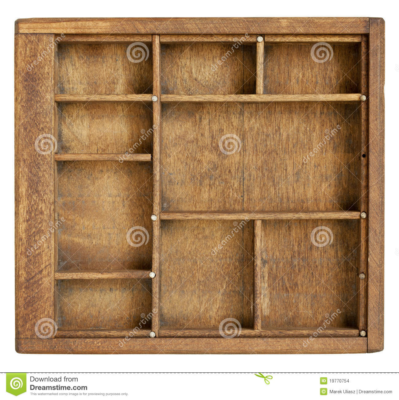 Marvelous photograph of Small vintage wood case (typesetter drawer) with dividers isolated on  with #85A724 color and 1300x1304 pixels