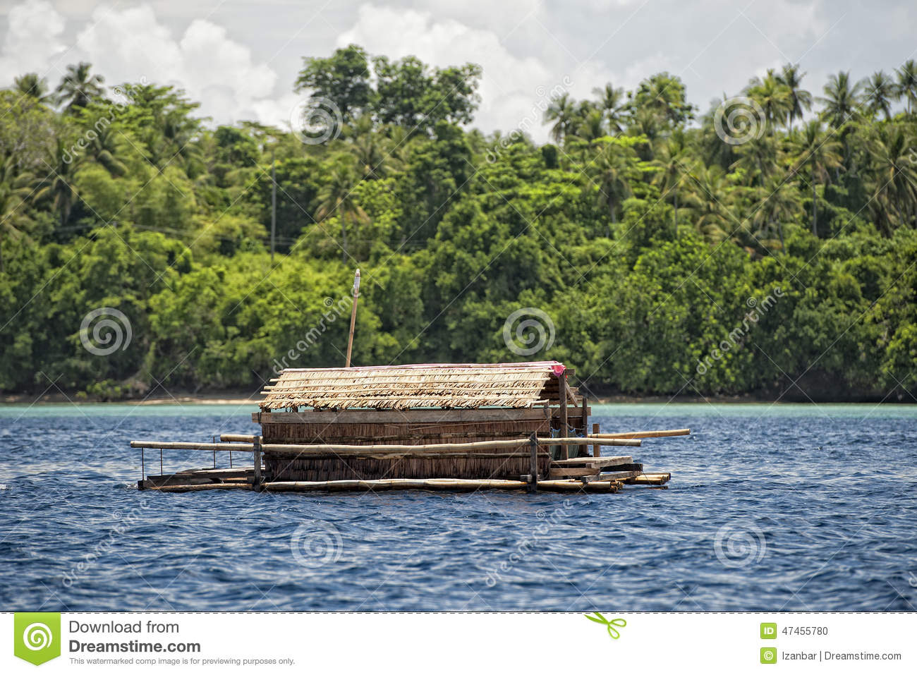 small wood floating fishing platform stock photo image