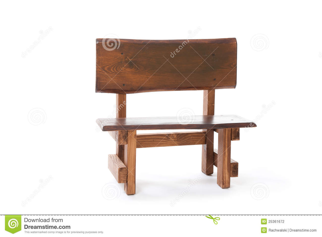 A Small Wooden Bench On A White Background Stock