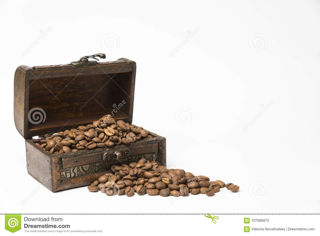 Small wooden box with coffee beans