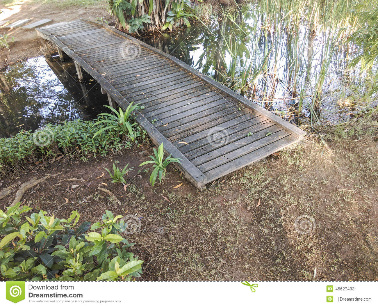 Small wooden bridge over a pond stock photo image 45627493 for Fish pond bridges