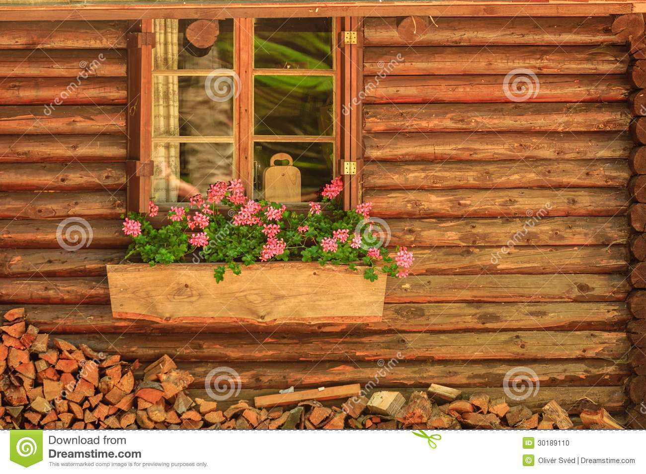 Small Wooden Cottage With Window Stock Photo Image 30189110