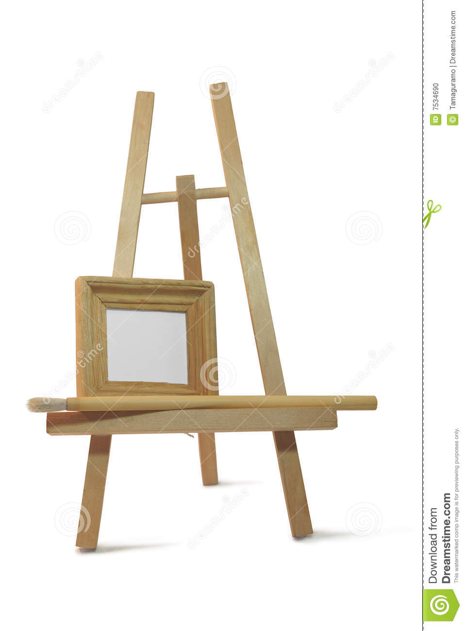 small wooden empty frame on easel