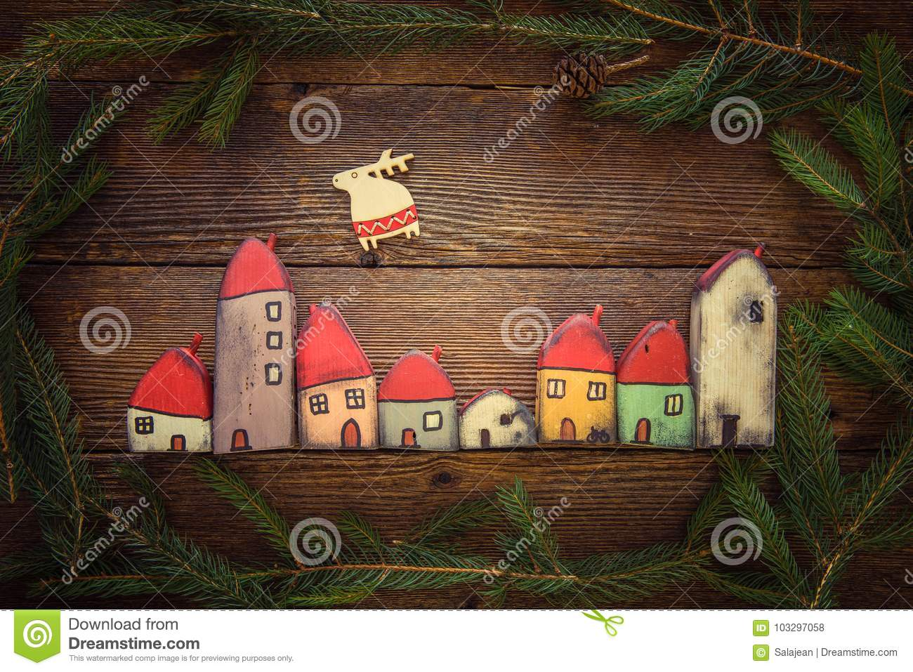Toy christmas houses stock photo image of house gift