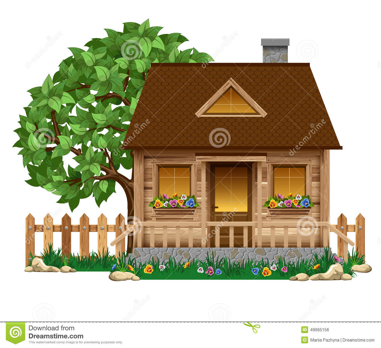 Small wooden house stock vector image 49665156 for Small wooden house