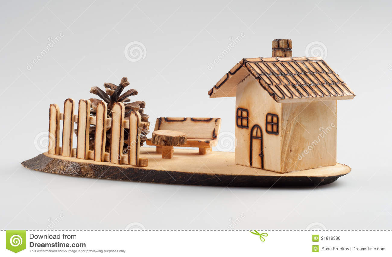 Small wooden house decoration stock photo image