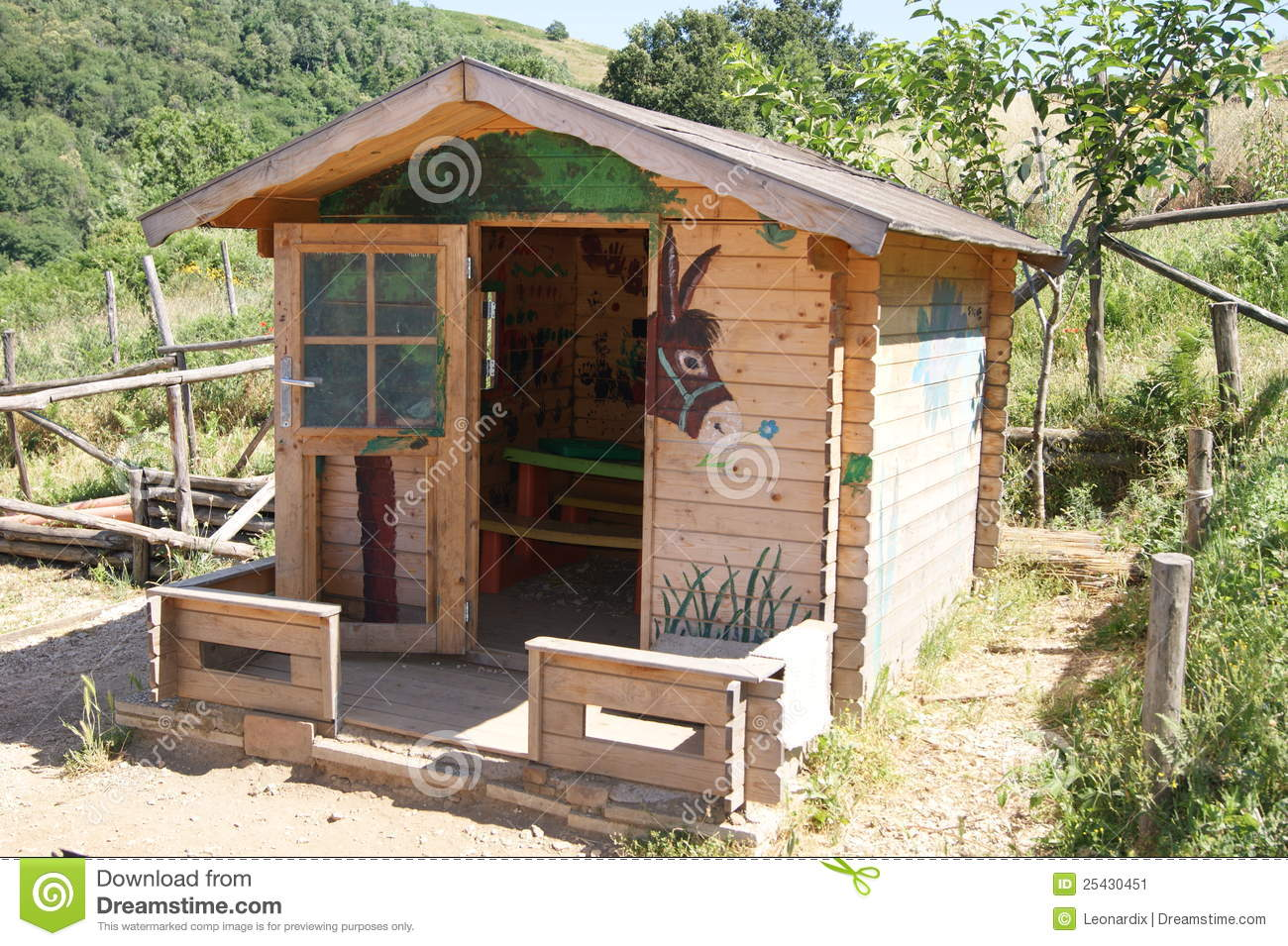 Small wooden house of donkeys stock image image 25430451 for Small house design made of wood