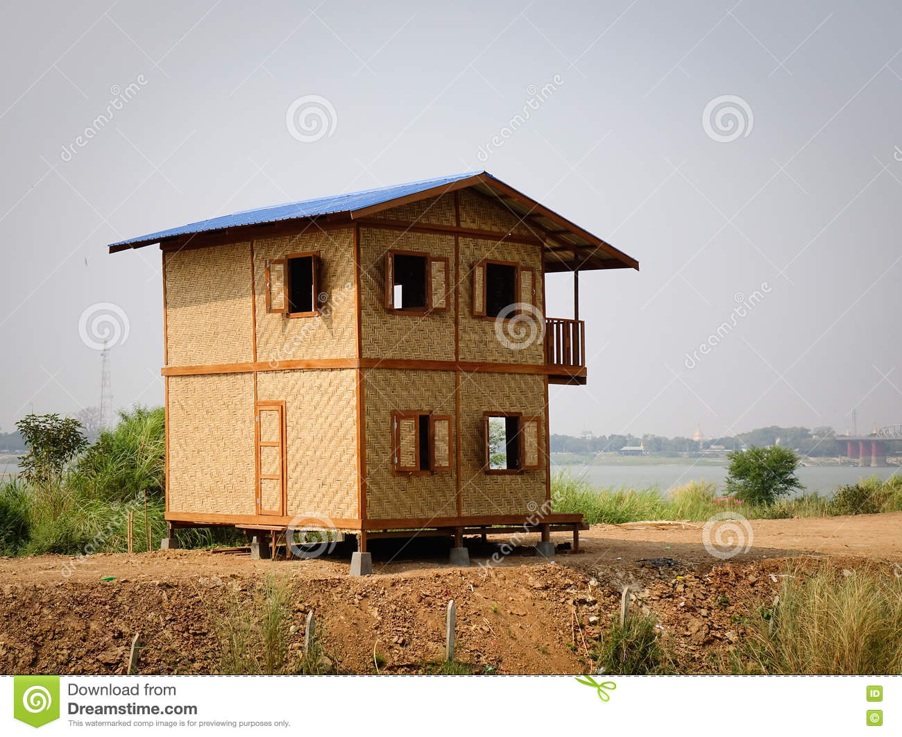 small wooden house in mandalay myanmar stock photo