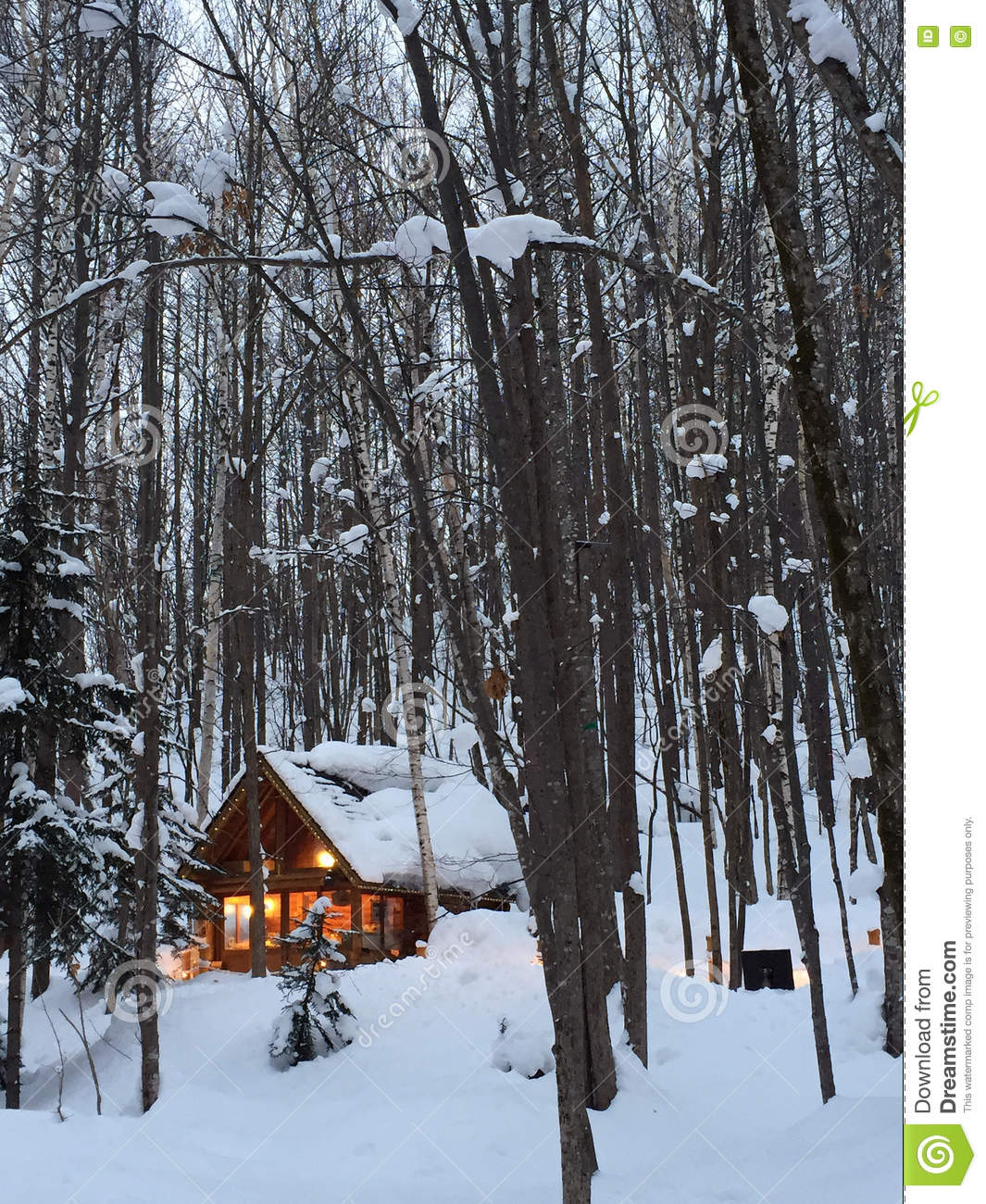 A Small Wooden House In Snow Forest Stock Image Image Of