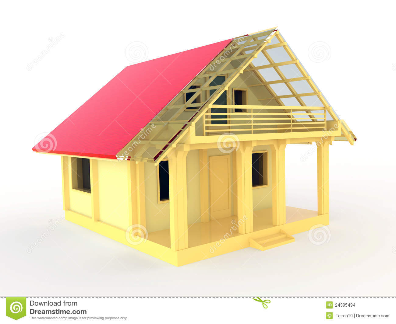 Small Wooden House With Terrace And Balcony Stock Images
