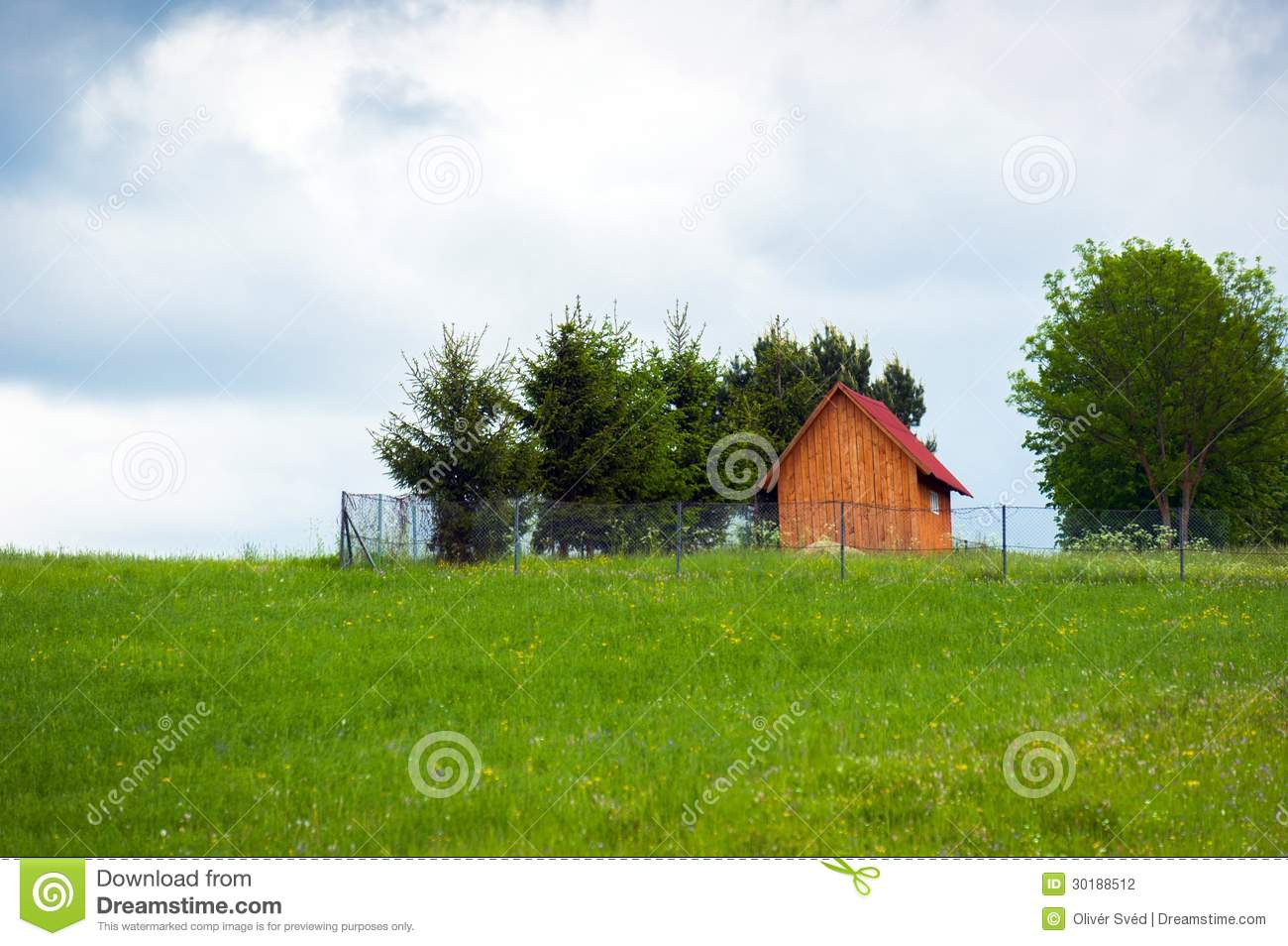 Small Wooden House On The Top Of A Hill Stock Photo Image Of Wooden Clouds 30188512