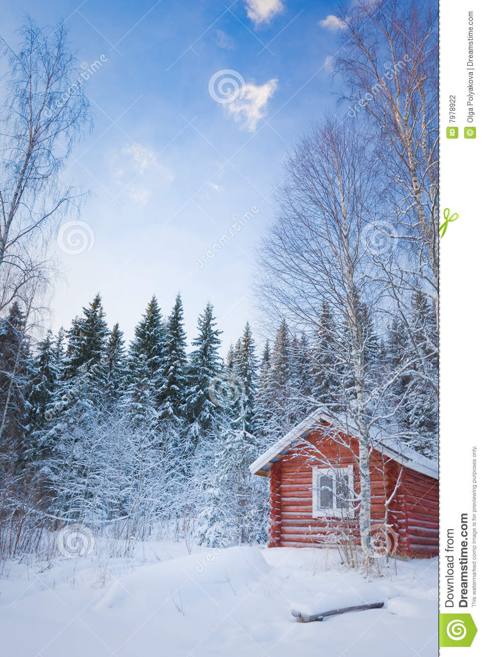 Small wooden house in winter forest stock photo image